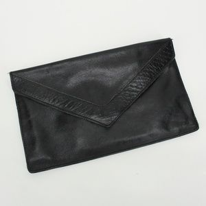 Vintage Black Leather Envelope Clutch